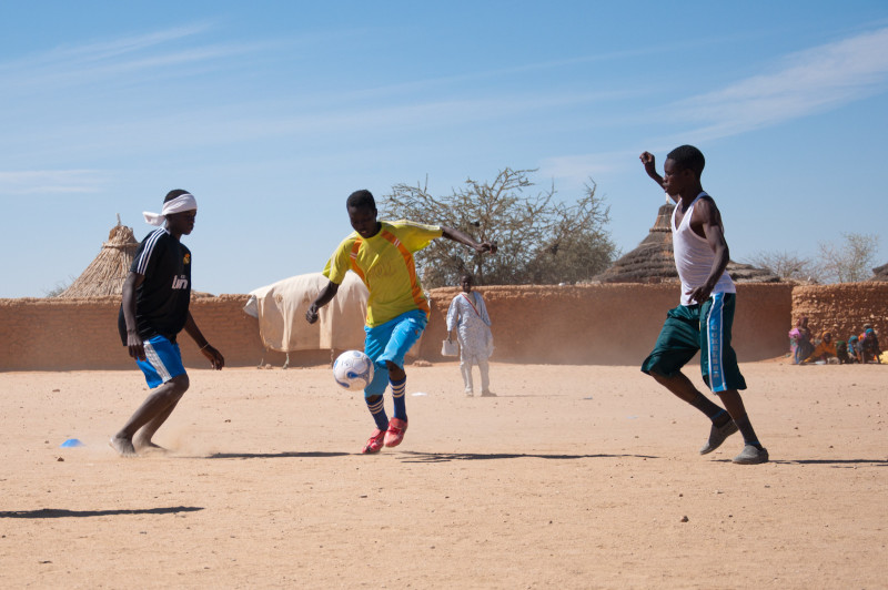Darfur United training camp on rough desert patches